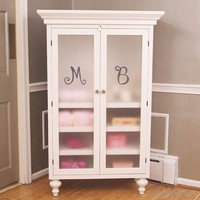 Monogrammed Armoire in White by Bratt Decor, Armoires,Personalized Items, Furniture for Girls
