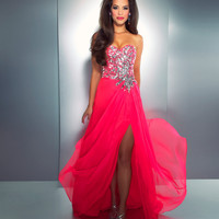 Mac Duggal Prom 2013 - Strapless Hot Pink Sequin Dress - Unique Vintage - Cocktail, Pinup, Holiday &amp; Prom Dresses.