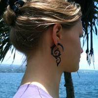 Fake gauge earring,Organic Black Horn ,Split Gauge Earrings, Tribal style,hand made,organic,natural