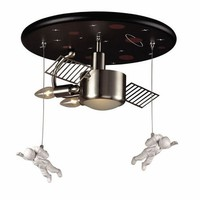 Astronaut Flush Mount Ceiling Light in Satin Nickel, Ceiling Fixtures, Lighting for Boys