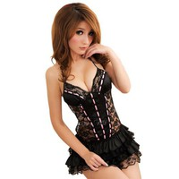 Intimates21 - Sexy Lingerie Black Lace Layered Mini Dress Princess Lolita Style Openback