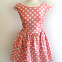 50s prom dress satin polka dot party dress peach pink
