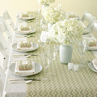 Dinner Table Setting - white and tan