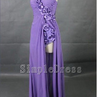 Split Front Sweetheart Sleeveless Floor-length Chiffon Flowers Long Prom/Evening/Party/Homecoming/Bridesmaid/Cocktail/Formal Dresses 2013