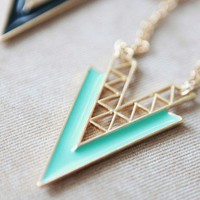 Double V  hollow out mint green necklace  from looback
