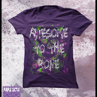 Geek t shirt - Awesome to the bone - womens skull and crossbones shirt