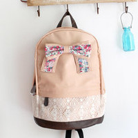 Pinkish Cream Backpack with Floral Bow & Lace-EMS