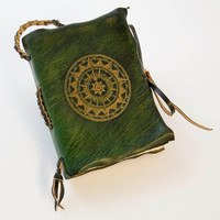 Pocket Size Compass Leather Journal Green, Blue, Brown