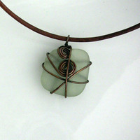 Copper Jewelry Wire Wrapped Brown Leather Necklace with Seafoam Green Sea Glass from France