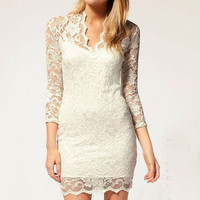 Lace Slim V-Neck 3/4 Sleeve Dress from LOOBACK FASHION STORE