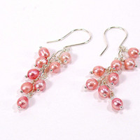 Pink Pearl Cascade Earrings, Sterling Silver
