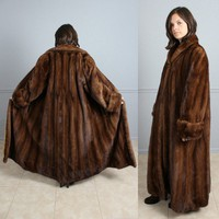 BEAUTIFUL 55&quot; EXTRA LONG LUNARAINE MINK FUR COAT M L XL