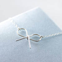 Bow Sterling Silver Necklace  simple minimalist tie the by petitor