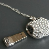 My Associates Store - High Quality 8gb Apple Crystal Jewelry USB Flash Memory Drive Necklace