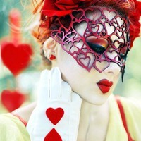 Hearts mask in red leather Valentine