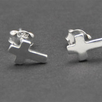 Sterling silver cross stud earrings, Sideways cross earring