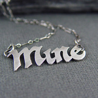 Valentine Jewelry, Funny Valentine, Valentine's Day gifts for HER, Silver MINE necklace, Gothic Valentine