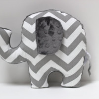 Chevron Elephant nursery pillow toy ELLE gray plush for modern baby