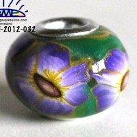 Euro Style Bead Purple Yellow Flower Large Hole Handmade Polymer Clay