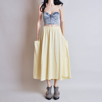yellow cotton full POCKET midi skirt / m / l / toro skirt