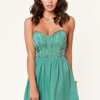Winter Solstice Beaded Teal Dress