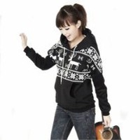 Chick&Stylish - Winter Womens Deer Hooded Hedging Loose Sweater Coat 3 Colors New Arrival Super (Black)