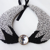 collar fashion silver bead choker collar necklace, choker, black choker collar peter pan necklaces