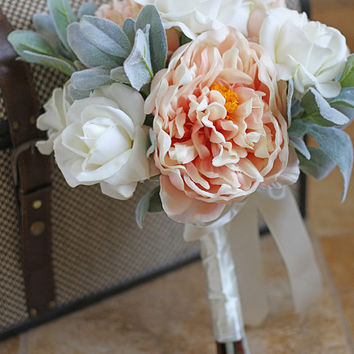 Blush Peony and White Roses Real Touch Wedding Bouquet - Blush White and Sage