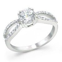 Bling Jewelry Sterling Silver Infinity Engagement Ring Round CZ: Jewelry: Amazon.com