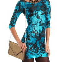Bow Back Foiled Body-Con Dress: Charlotte Russe