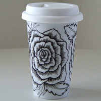 Ceramic Travel Mug Roses Tattoo Black White Eco by sewZinski