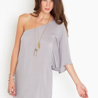 Asymmetric Flare Dress - Dove Gray in Clothes at Nasty Gal