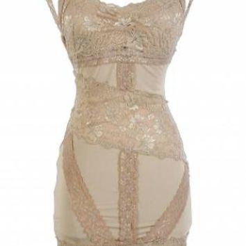 Light Brown Lace Bodycon Dress with Open Back Detail