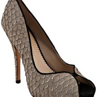 Jean-Michel Cazabat taupe fish scale 'Kari' peep toe pumps | BLUEFLY up to 70% off designer brands
