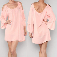 Pretty Coral Pink Peasant Pixie Dolman Blouse Dress Boho Open Shoulder Sleeve