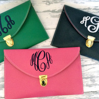monogrammed envelope clutch in BLACK