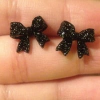 Sparkly Black Bow Earrings