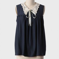 sweet serenity lace collared blouse in navy at ShopRuche.com