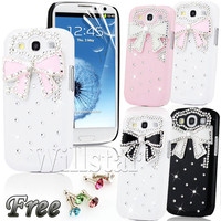 3D CRYSTAL DIAMOND BOW CASE FOR SAMSUNG GALAXY S3