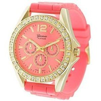 Geneva Platinum 7846 Women&#x27;s Decorative Chronograph Rhinestone-accented Silicone Watch-CORAL/GLD: Watches: Amazon.com