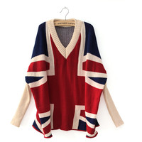 New Korea Ladies V Neck Batwing Sleeve Loose Union Jack Sweater