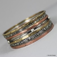 Mixed Metals Stack of Bangle Bracelets Sterling by jnorvelle