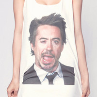 Robert Downey Jr Shirt Iron Man Wink Face Color Shirts Women Tank Top White Shirt Tunic Top Vest Sleeveless Women T-Shirt Size S M