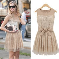 Chic Womens Elegant Lace Sleeveless Chiffon Bowknot belt Dress