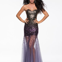 Purple Ombre Beaded Drop Waist Tulle Strapless Prom Gown - Unique Vintage - Cocktail, Pinup, Holiday & Prom Dresses.