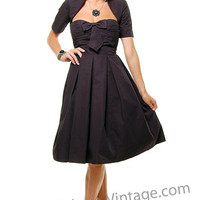 Getting To Bow You Swing Dress with Removable Cropped Jacket - Unique Vintage - Cocktail, Evening & Pinup Dresses