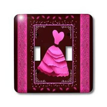 Amazon.com: Jaclinart Dress Damask Ribbons Leaves Nature - Pink dress with leaves and ribbons on wine background - Light Switch Covers - double toggle switch: Home Improvement
