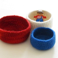Nautical Felted Bowl / Red Blue Whi.. on Luulla