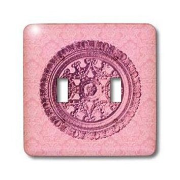Amazon.com: Jaclinart Bows Scrolls Shells Floral Damask - Peony pink ornate vintage architectural element on pastel pink damask background - Light Switch Covers - double toggle switch: Home Improvement