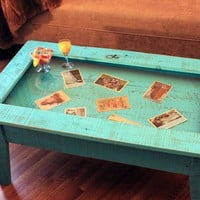 Display Coffee Table with Glass Top by natureinspiredcrafts